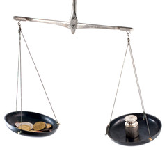 Laboratory balance with coins