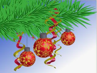 balls on fir tree