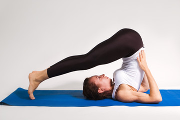 set of yogi girl in yoga pose
