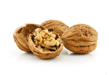 Close-up of a Walnut Fruits Isolated on White