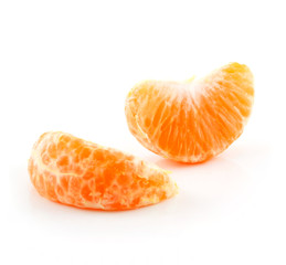 Section of Tangerine Fruit Isolated on White