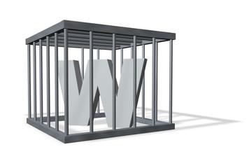 der buchstabe w in einem käfig