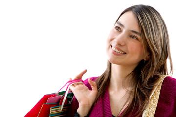 Shopping woman thinking