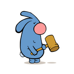 Mad smiling rabbit holds hammer