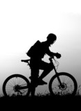 adventure cycling in the nature - mountain biker silhouette poster