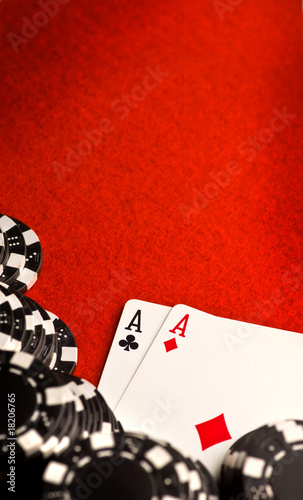 Pocket Aces on Red Felt