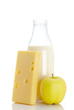 Cheese, apple and milk bottle