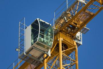 Cockpit of a modern construction crane