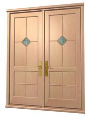 3d entrance door on the plain background