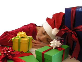 Schlafende Weihnachtsfrau