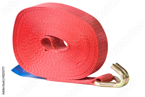 New strop for fastening a cargo. Isolated on white.