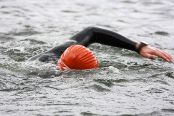 tri-athlete on swim stroke