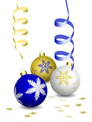Boules de Noël sur fond blanc