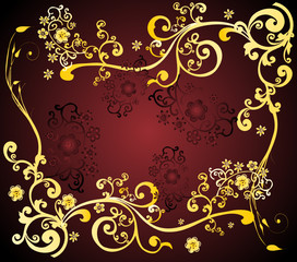 fine floral design in brown and yellow colour