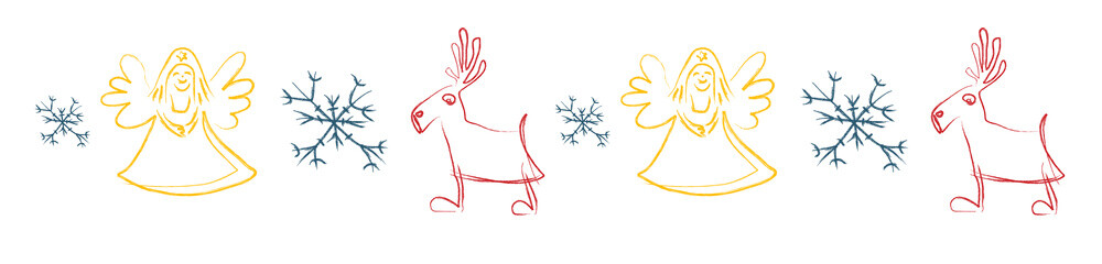 Caribou, angel and snowflake