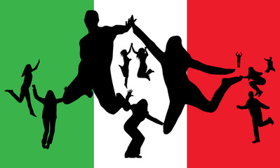 Flag of Italy and people jumping