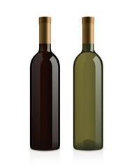 realistic wine bottles (red and white)
