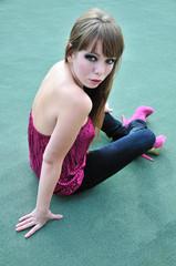 fashion model sitting