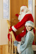 Ded Moroz  and Snegurochka knocking at the door