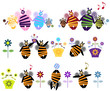 Abstract Happy Bee family icons with music, flower cartoon label