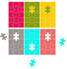Color Puzzle cards, vector cards, game backgrounds