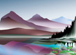 Mountains and lake landscape, vector illustration layered