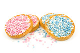 Rusk with blue and pink mice over white background poster
