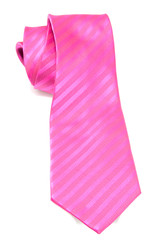 Pink necktie over white background