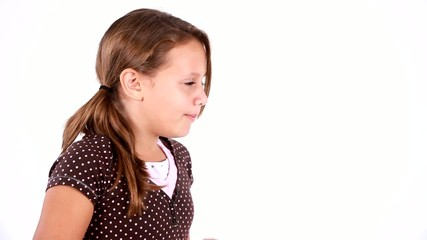 Young Girl Using a Tissue Coughing and Sneezing