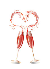 Two glasses and heart
