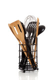 An array of kitchen utensils on white poster