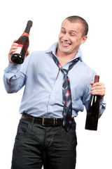 Funny drunk businessman