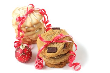 Christmas cookies, studio isolated.