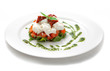 Dish with tomatoes, salad ruccola and cheese a mozzarella