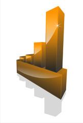 graph statistiques 3D noir sans inscription de monnais
