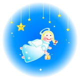 Christmas angel with special gift at New Year eve poster