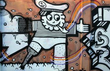 capitaine de navire en graffiti