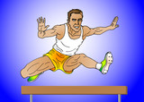 man jumping on hurdle poster