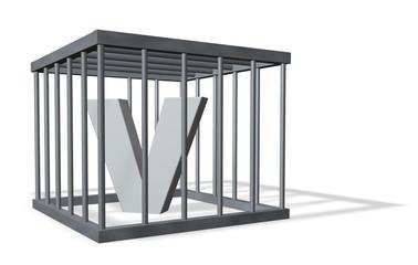 der buchstabe v in einem käfig