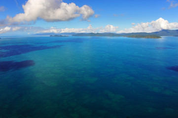 Aerial view of sparkling waters and the Whitsunday Islands