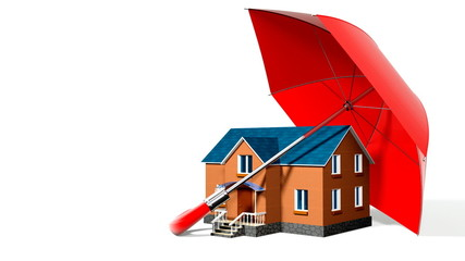 red umbrella, protecting new private house with alpha