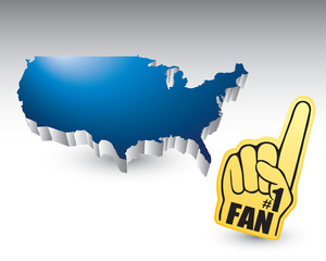 Foam fan hand by united states icon