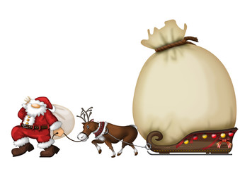 Santa Claus(Father Christmas) and Reindeer and present