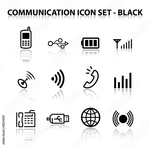 Reflect Communication Icon Set (Black)