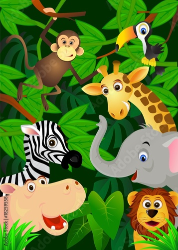 Tuinposter Zoo Wild animals in the jungle