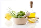 Olive oil, Healing herbs and lemon poster