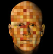 Male portrait with colorful squares pattern. 3d illustration.