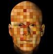 Male portrait with colorful squares pattern. 3d illustration.