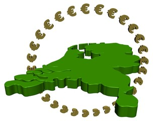 Dutch map with circle of euros