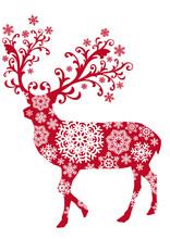 Boże Narodzenie jelenia z ornamentami i płatki śniegu, wektor